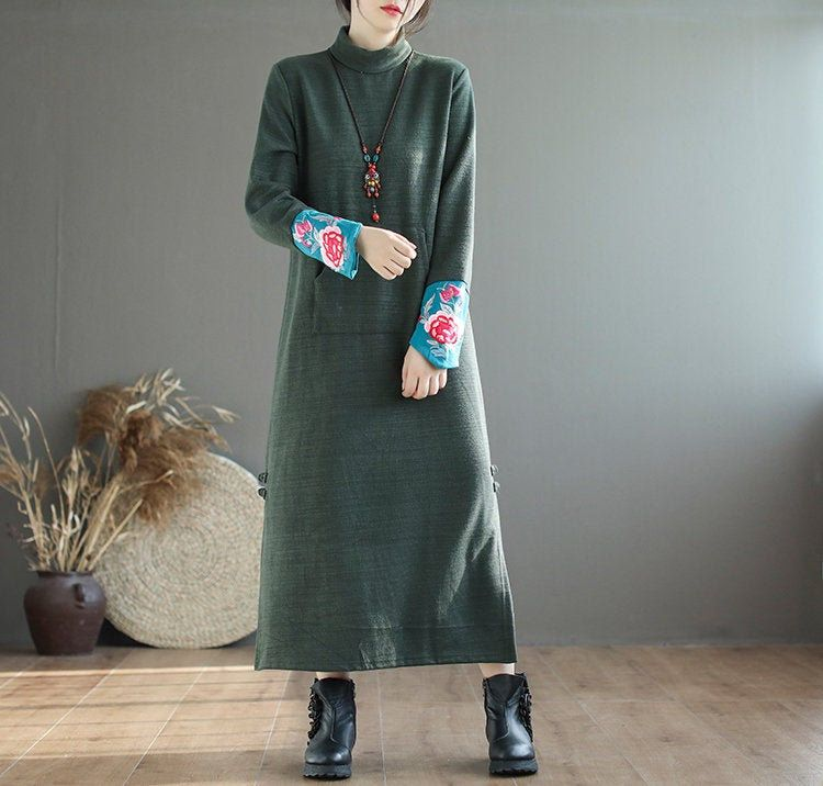 Photo of Autumn and winter high collar bottoming thick dress women,knit dress, cuff embroidered long dress,loose dress female,long-sleeved dress