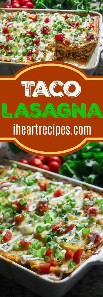 Taco Lasagna with Ground Turkey   I Heart Recipes #groundturkeytacos