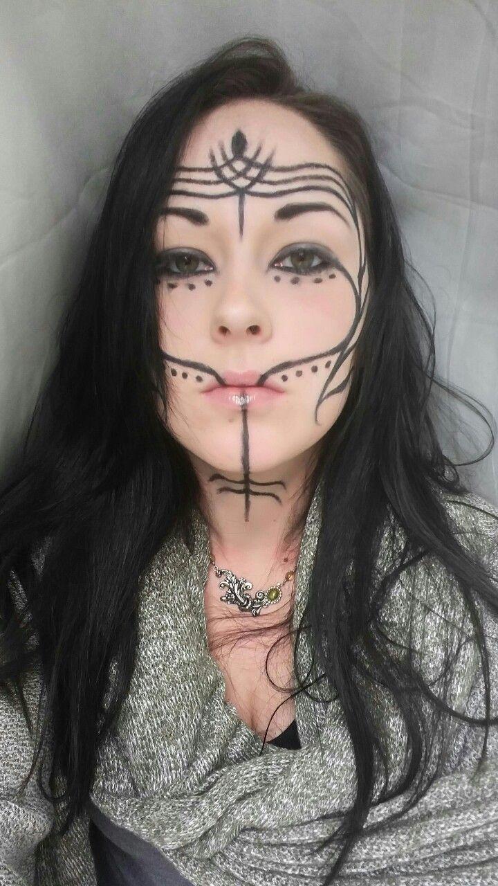 Tribal Face Tatto : tribal, tatto, Dalish, Tumblr, Tribal, Makeup,, Fantasy, Makeup