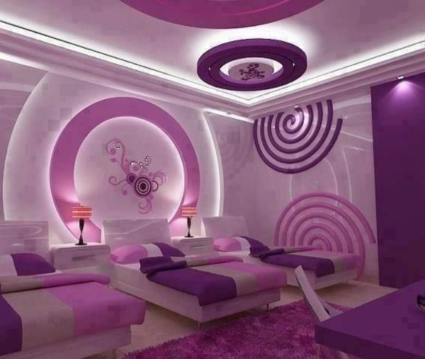 Prachtige Versteckte Beleuchtung Im Madchenzimmer Lila Farben Kinder Zimmer Violettes Schlafzimmer Modernes Schlafzimmer Design