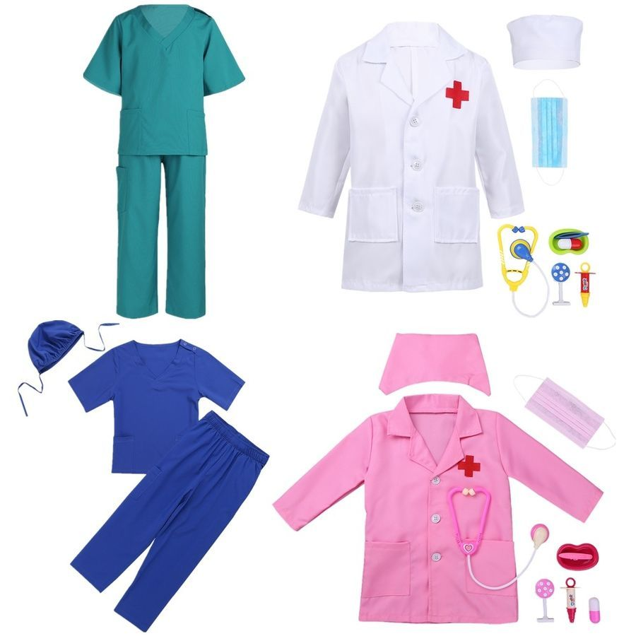 Kids Boys Girls Doctor Nurse Outfits Fancy Dress Up Costume Paramedic Uniform
