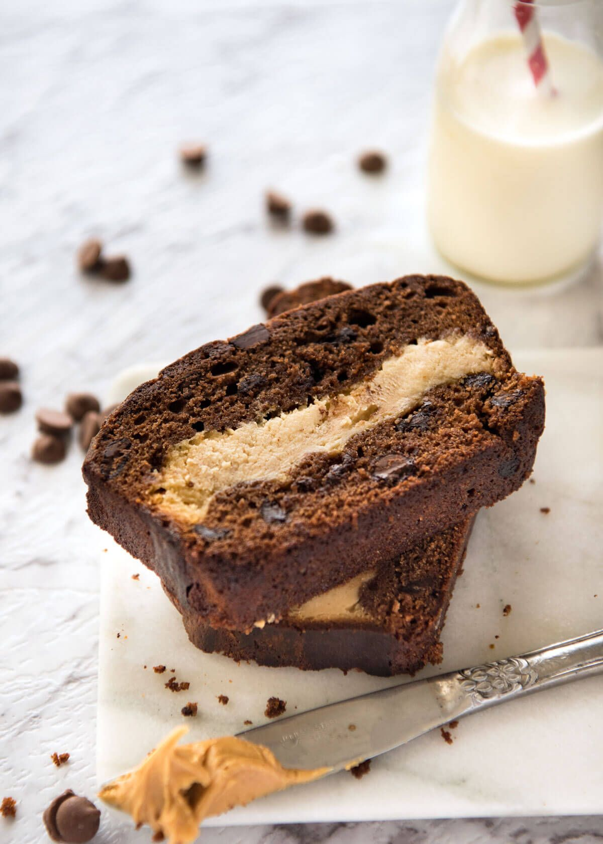Peanut Butter Cheesecake Stuffed Chocolate Loaf