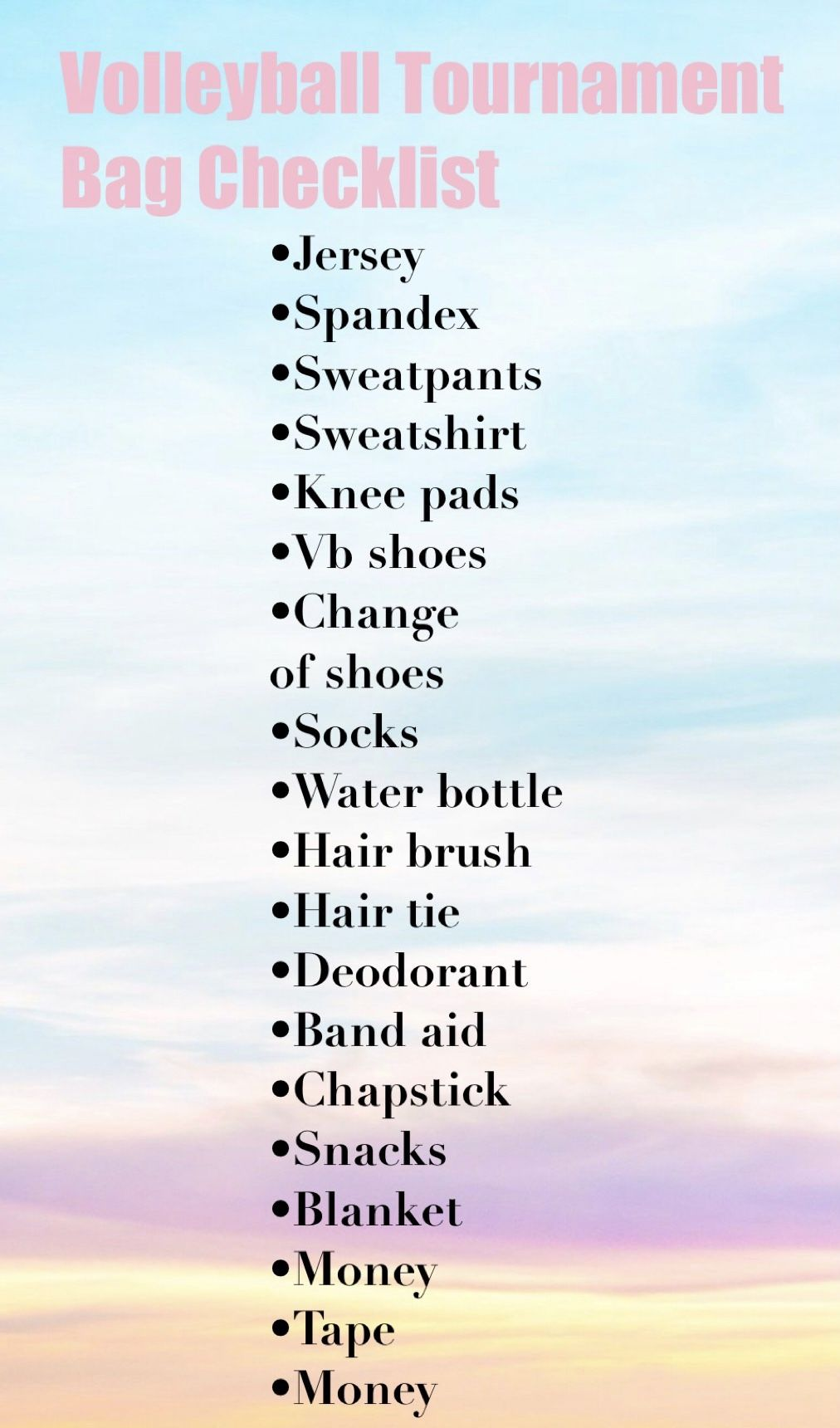Volleyball Packing Checklist Volleyball Tournaments Volleyball Tips Volleyball Workouts