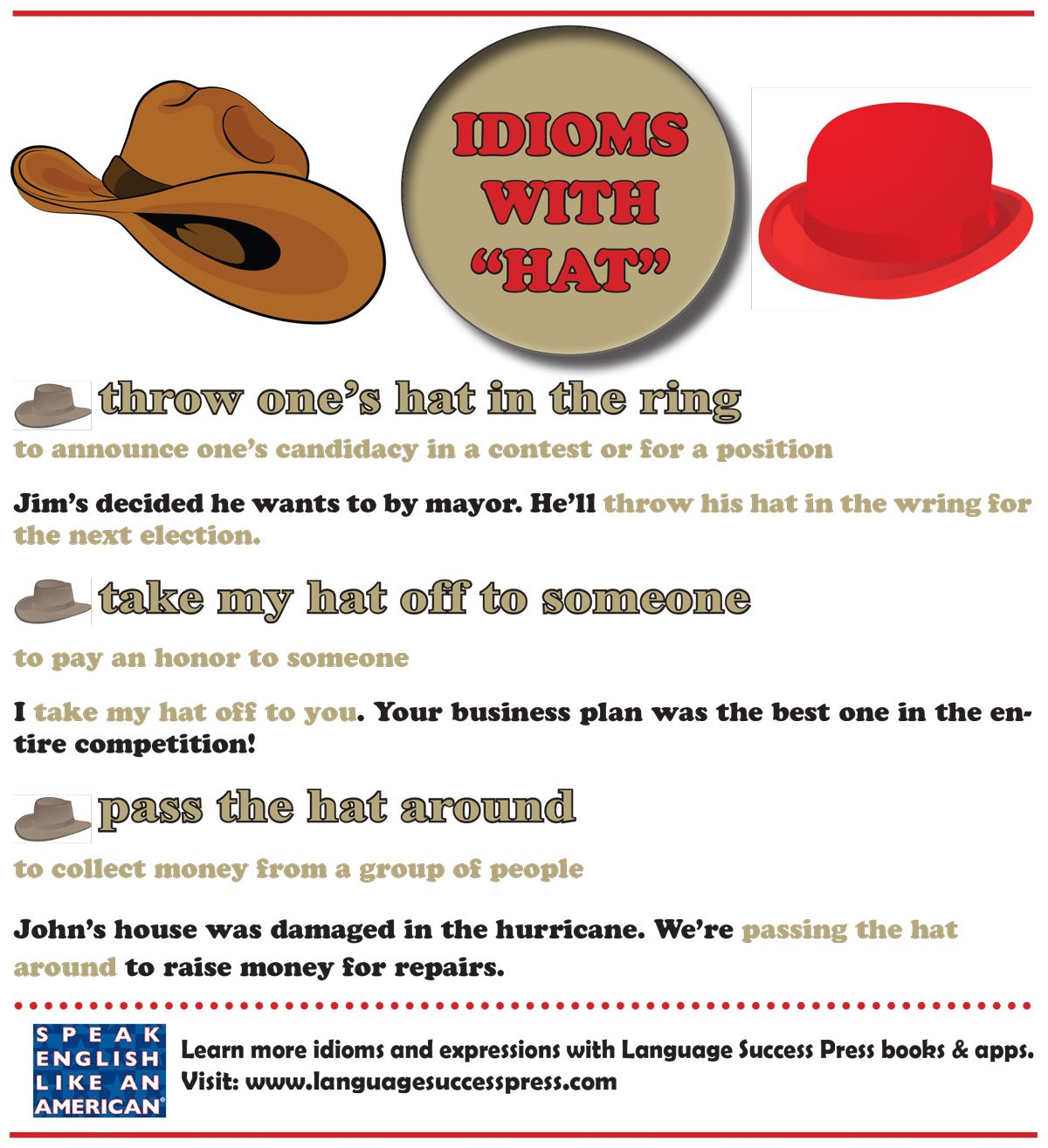 Enjoy These Idioms With Hat English Idioms Idioms And Phrases Business Idioms