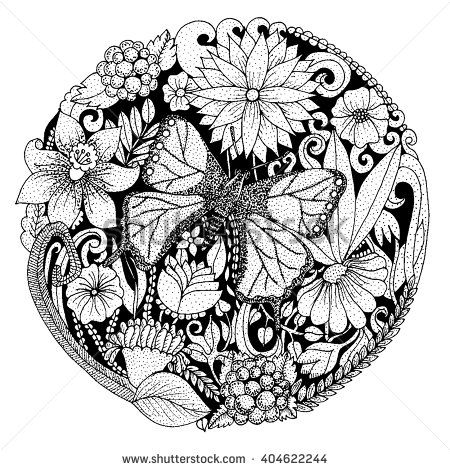 Hand Drawn Background With Flowers Butterfly Leaves Nature Design For Relax Meditation Vector Black And White Illustration Can Be Used Coloring
