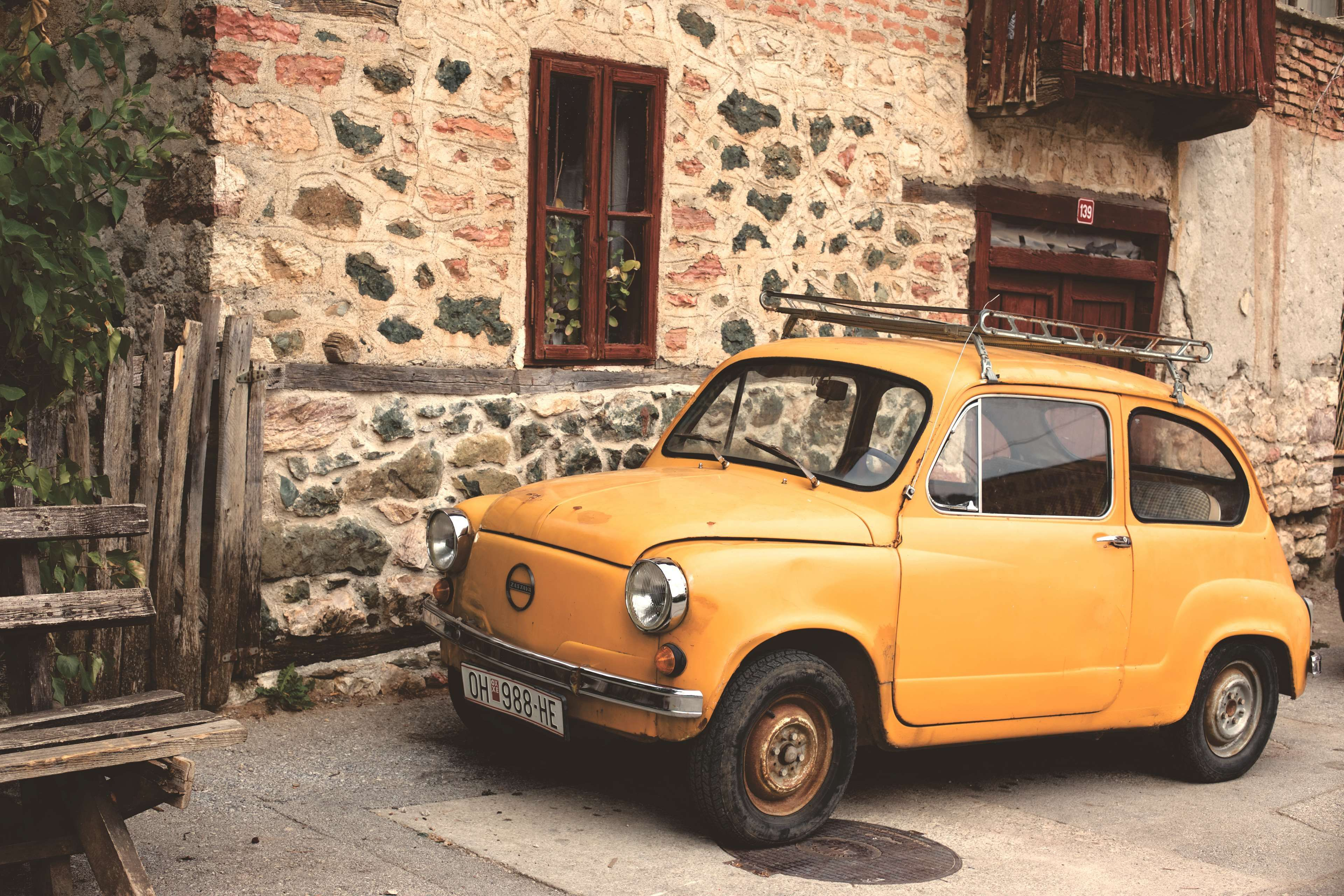 car #classic car #old #old little car #small car #vintage #yellow ...