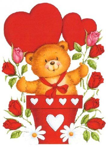 Valentine Teddy With Heart And Roses In Pot PNG Picture