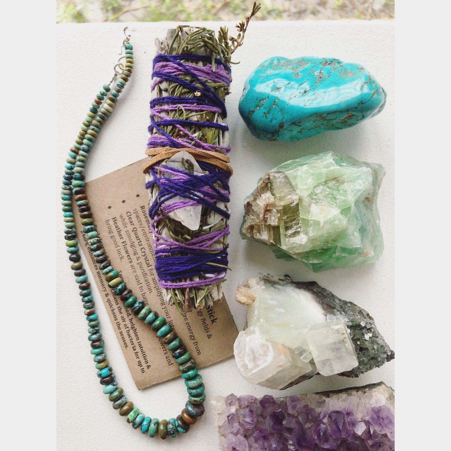 Clear Quartz Crystal and Turquoise Bracelet