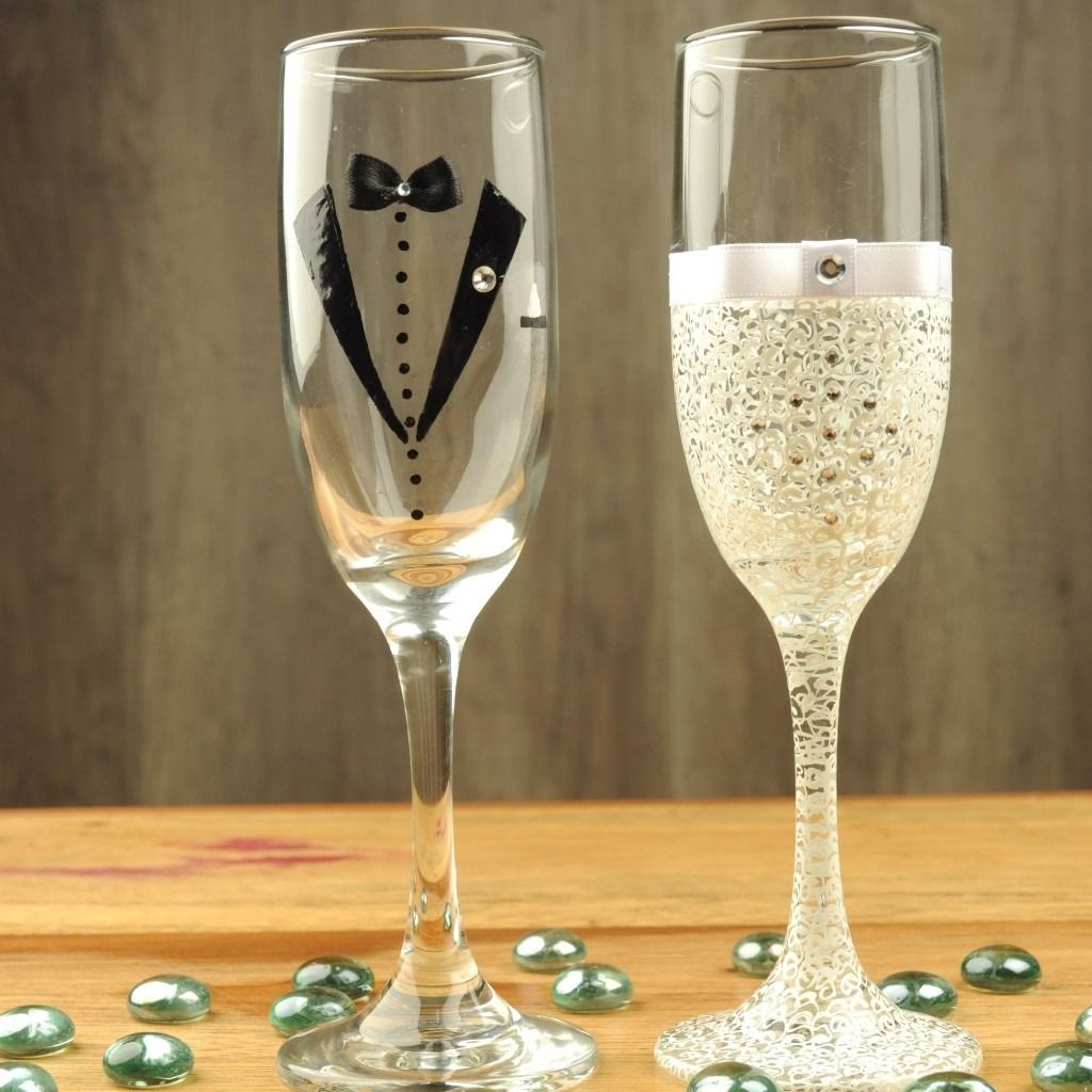 Copas decoradas para bodas 22312 mlv2022 boda pinterest copas decoradas para boda copas - Flutes a champagne originales ...
