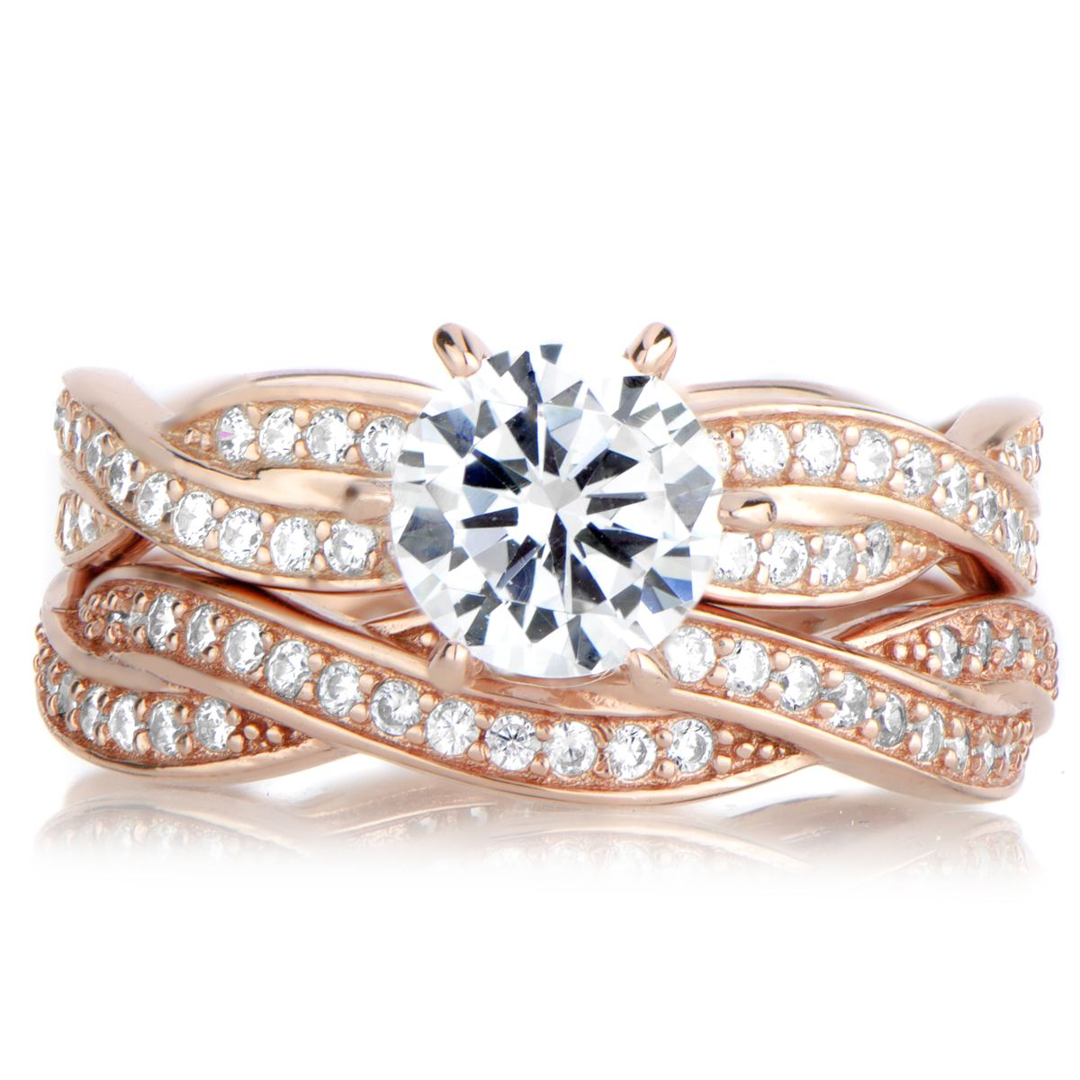 Devera's Rose Gold CZ Twisted Wedding Ring Set Rose gold