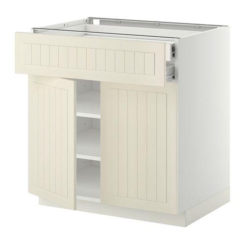 METOD / FÖRVARA Élt bas 2 portes/2 tiroirs, blanc ...