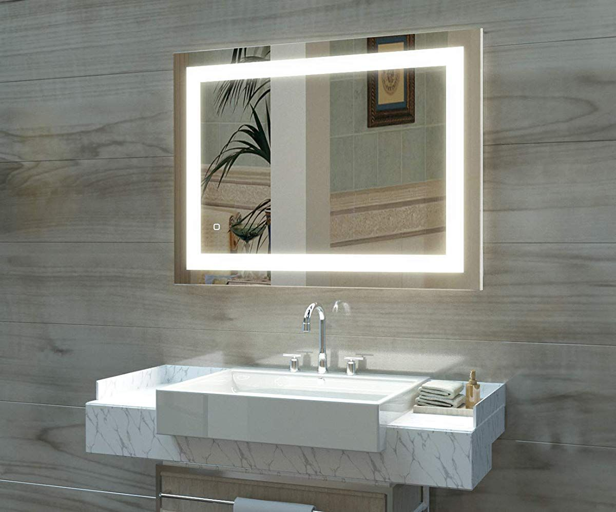 Led Lighted Bathroom Wall Mounted Fogless Mirror Wall Mounted