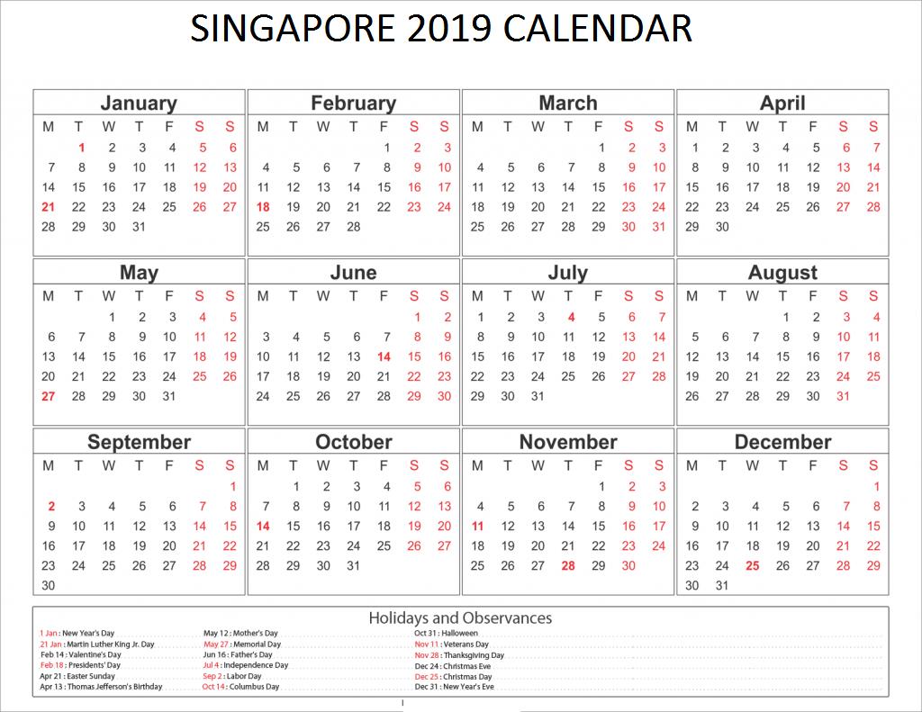 Singapore Holidays Calendar