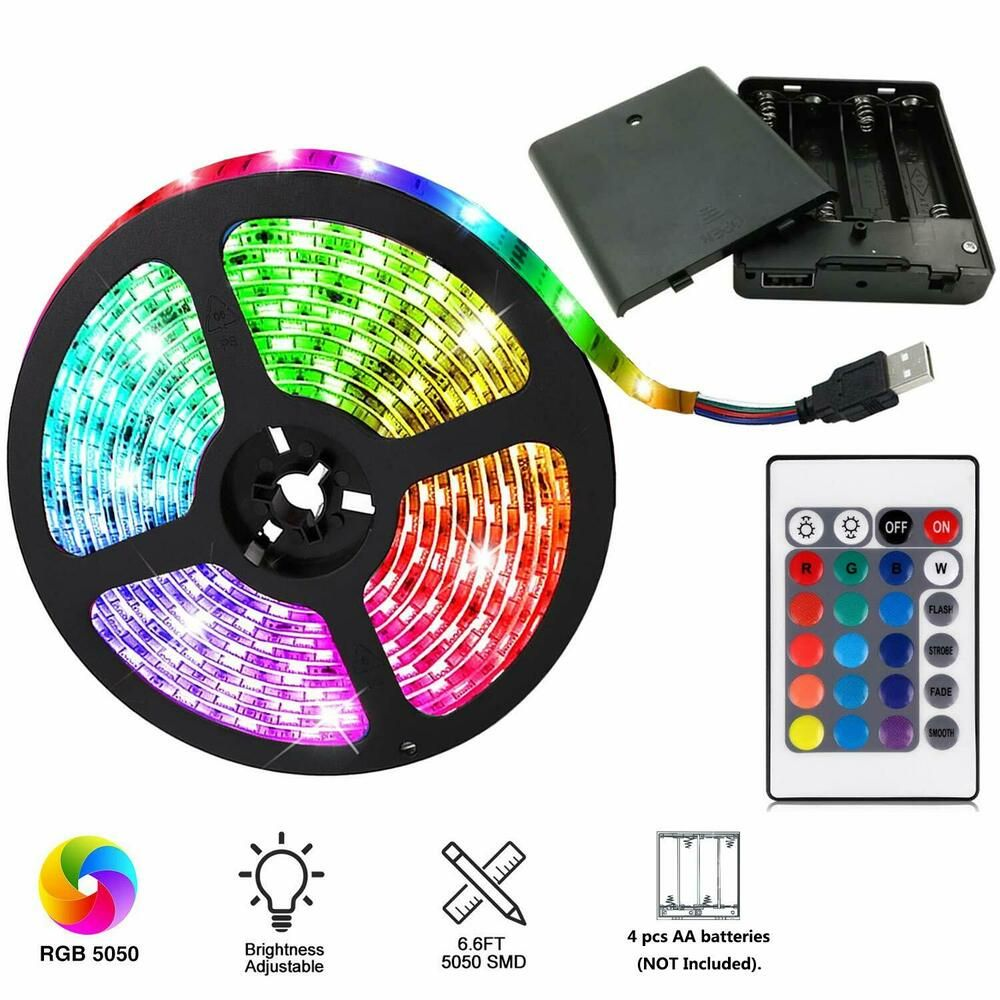 Aijiaer Battery Powered Led Strip Lights 5050 2m 6 6ft Waterproof Flexible Col Aijiaer Led Strip Lighting Battery Powered Led Rgb Led Lights