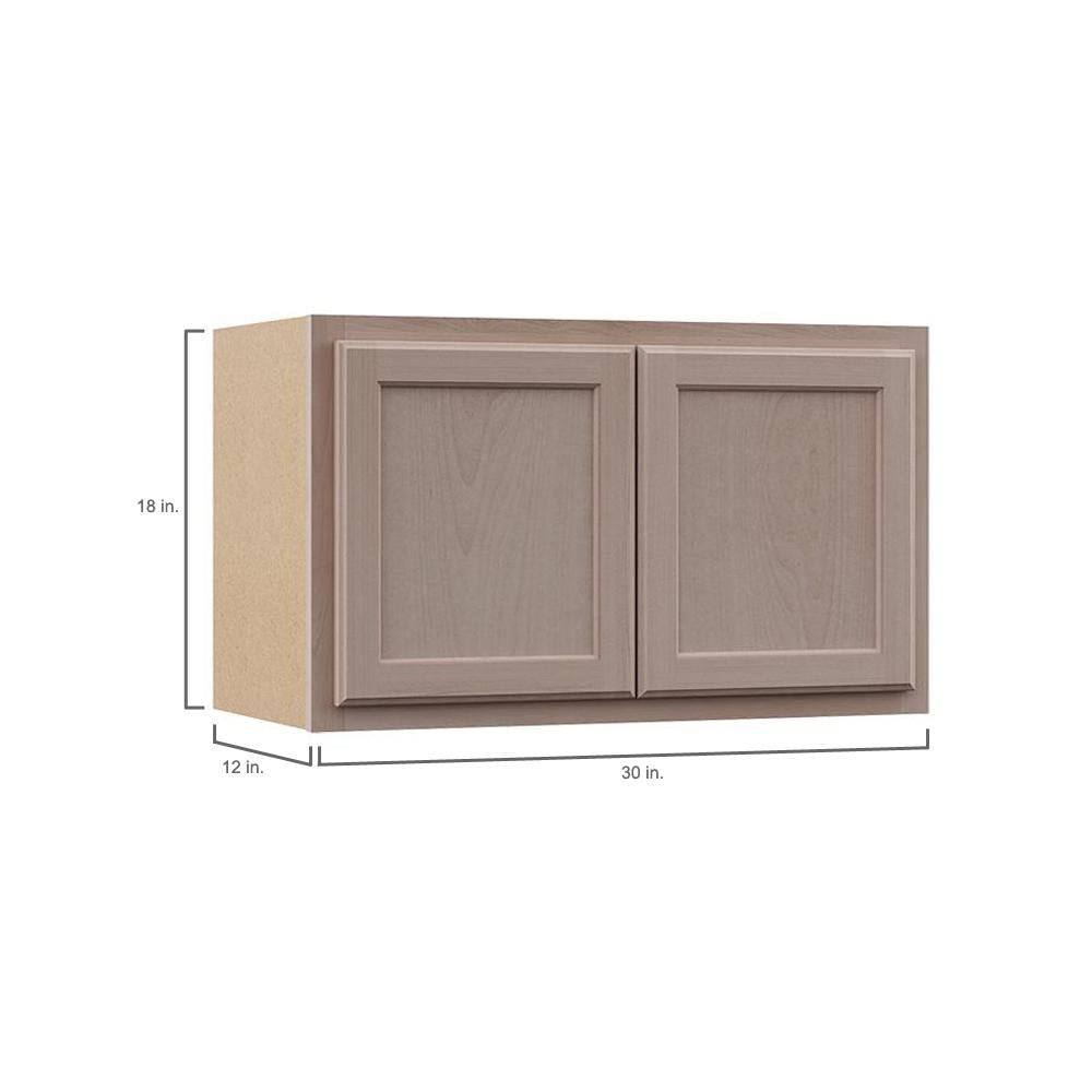 Hampton Bay Hampton Assembled 30x18x12 In Wall Bridge Cabinet In Unfinished Beech Kw3018 Uf Kitchen Wall Cabinets Cabinet Solid Wood Doors