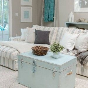 Charmant Pastel Blue Coffee Table Trunks With Striped Sectional Sofa , Coffee Table  Trunks For Alternatives In Furniture Category