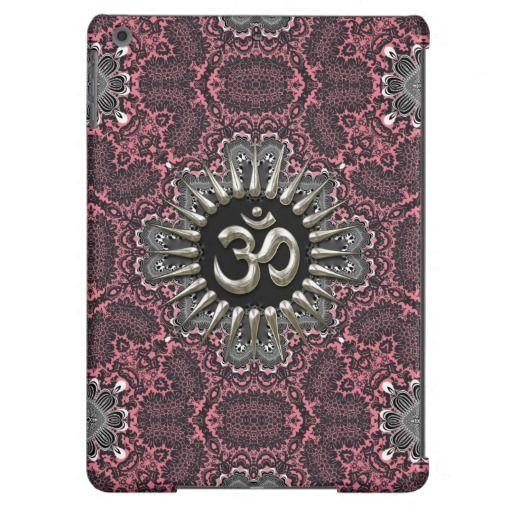 Silver Om Vintage Pink Damask  iPad Air Case #yoga #spirituality #symbols #sanskrit