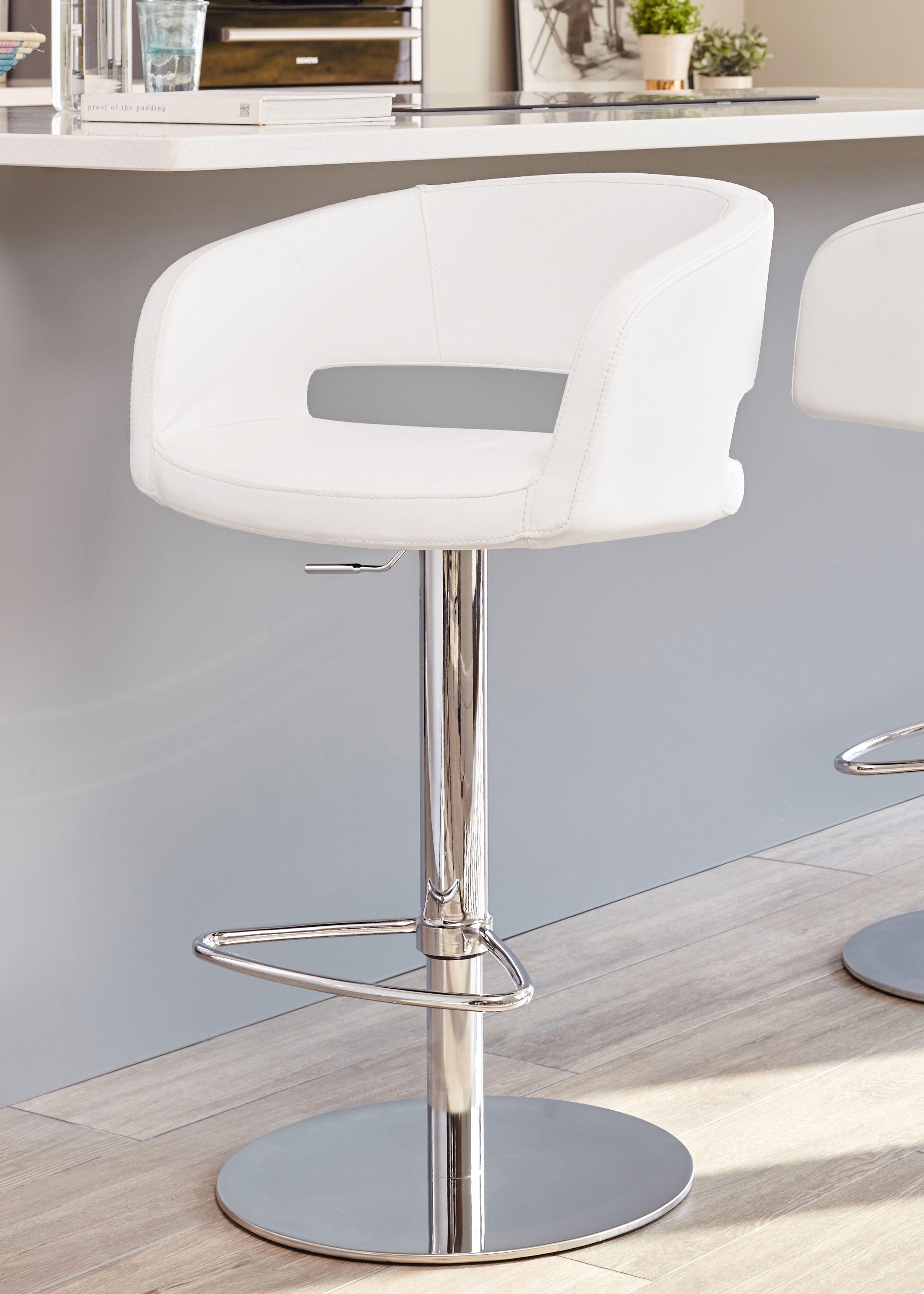 Cool Savina Chrome Gas Lift Bar Stool In 2019 Bar Stools White Machost Co Dining Chair Design Ideas Machostcouk