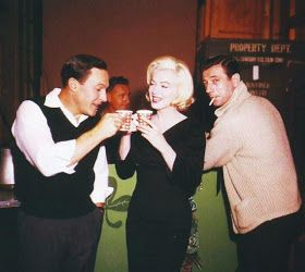 Gene Kelly, Marilyn Monroe and Yves Montand on the set of Let's Make Love, 1960