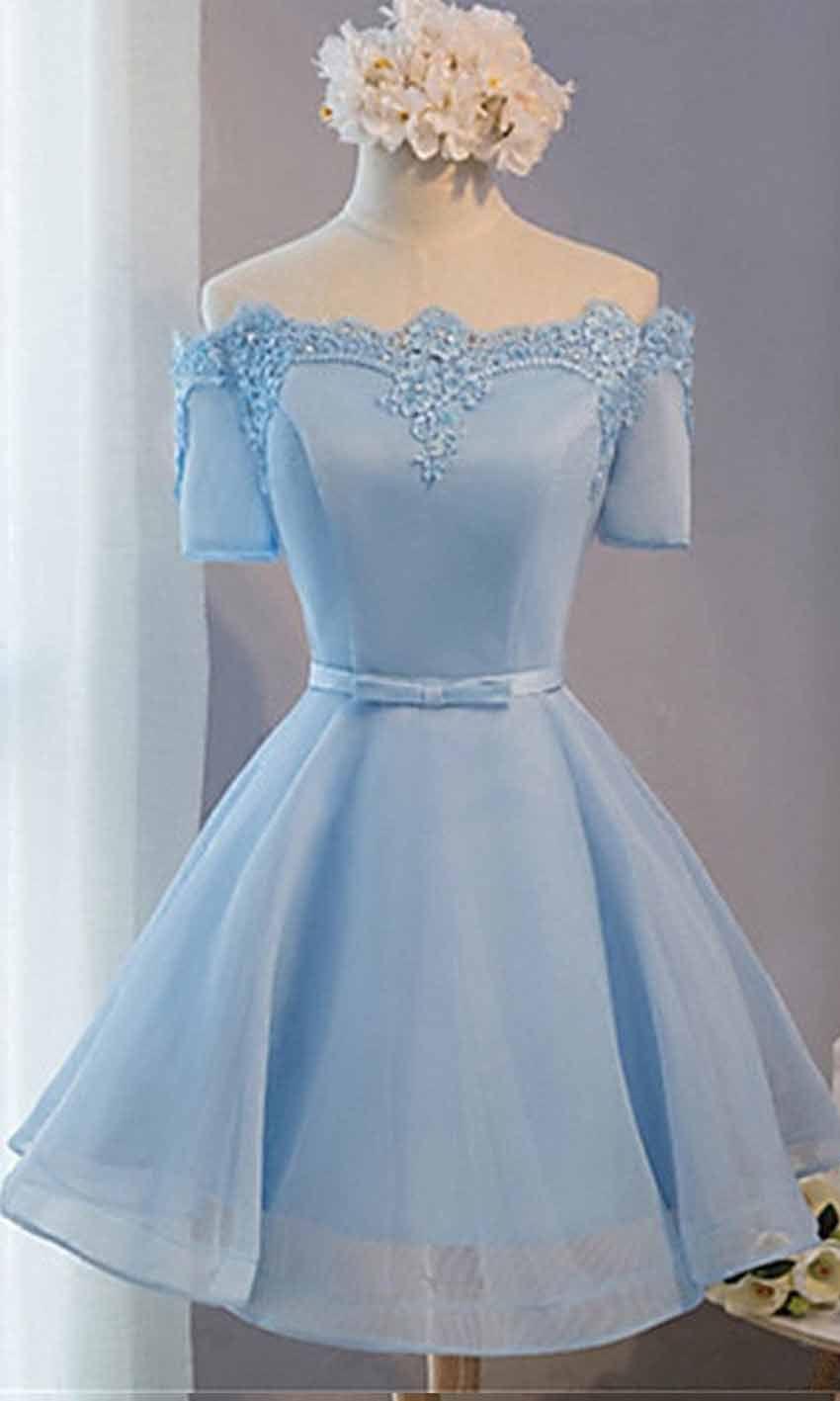 Cute Blue Off Shoulder Short Prom Dress Short Sleeves KSP446 ...
