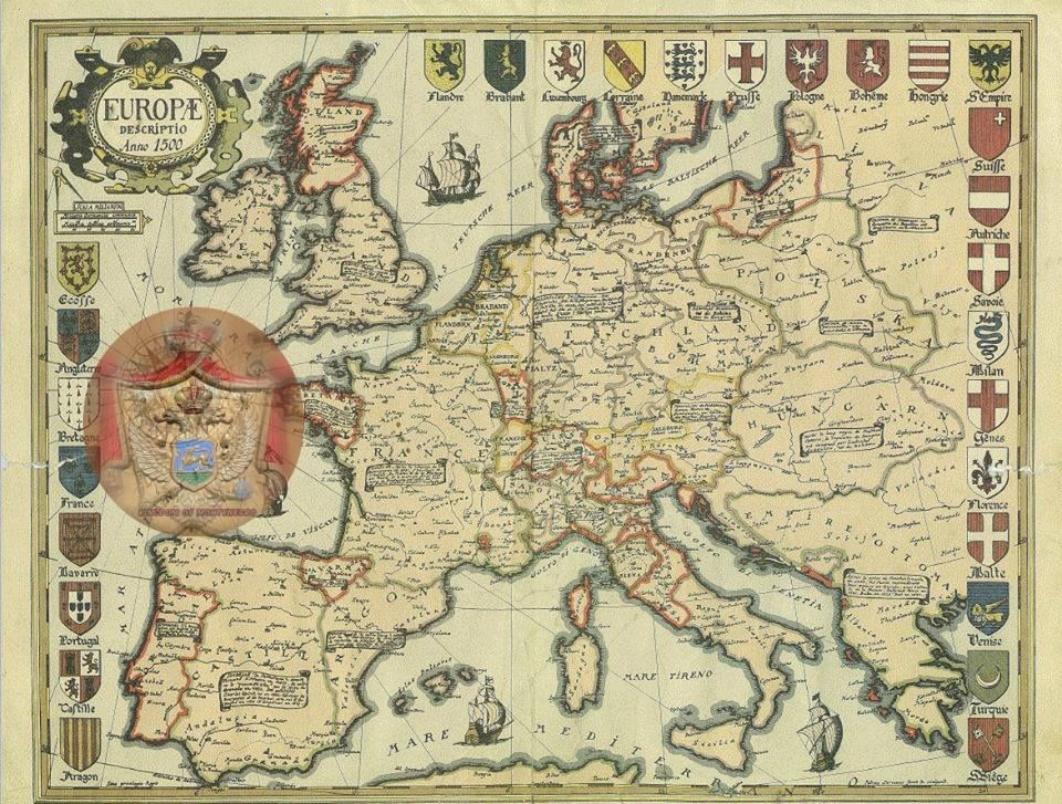 Europe In 1500 Montenegro On The Map Marked Original Map