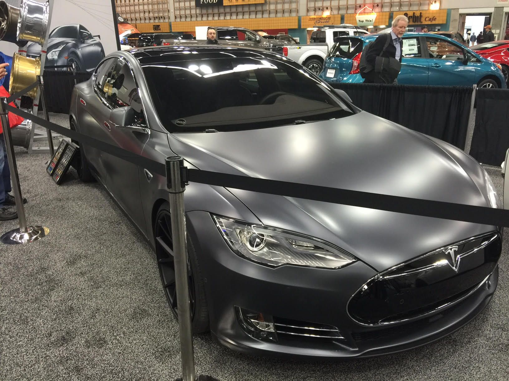 Tesla model s tricked out by 503 motoring at the portland auto show