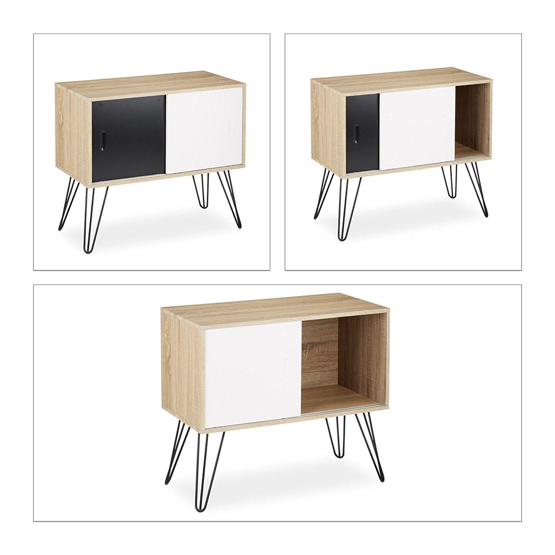 Relaxdays Sideboard Retro 60er Jahre Design Holz Metall