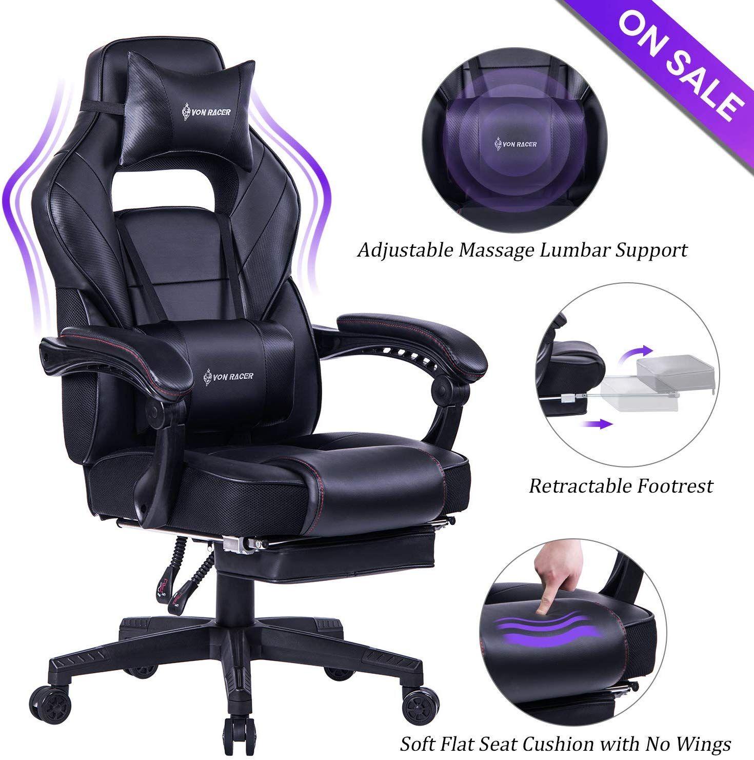 Von Racer Massage Reclining Gaming Chair Ergonomic High Back Racing Computer Desk Office Chair Reclining Office Chair Office Computer Desk Gaming Chair