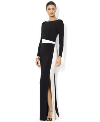 Lauren Ralph Lauren Petite Long-Sleeve Colorblocked Gown - Dresses ...
