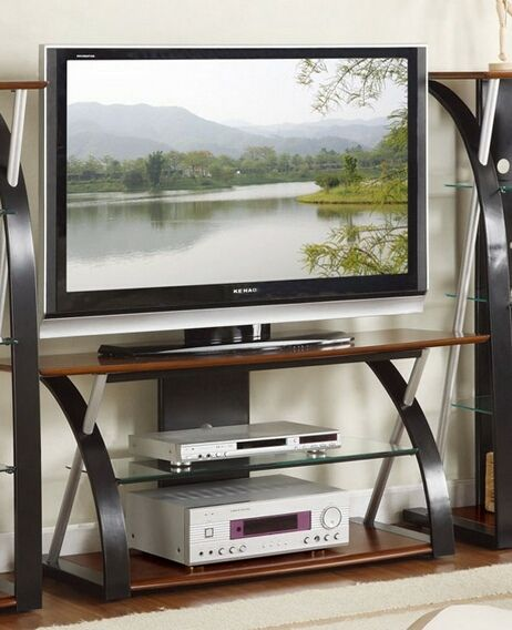 Modern Style Black And Brown Finish Wood Glass Tv Stand Tv