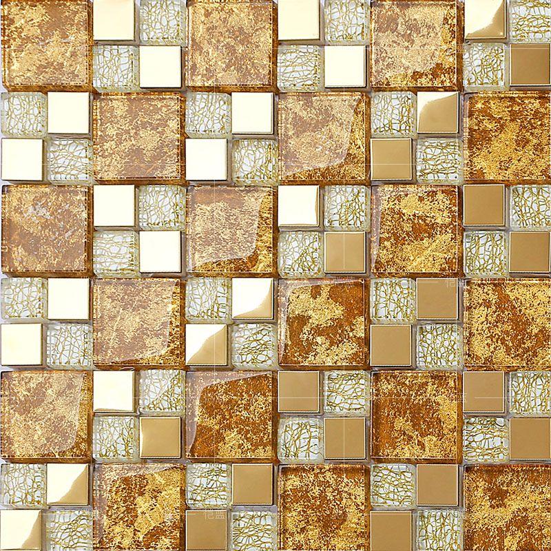Crystal Gl Mosaic Gold Metal Tiles Stainless Steel Backsplash Design Wall Tile Hall Backsplashes