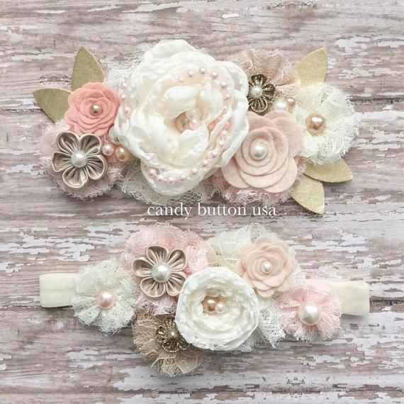 Photo of Rose Flower Baby Headband, Rustic Wedding Hairpiece, Lace He…