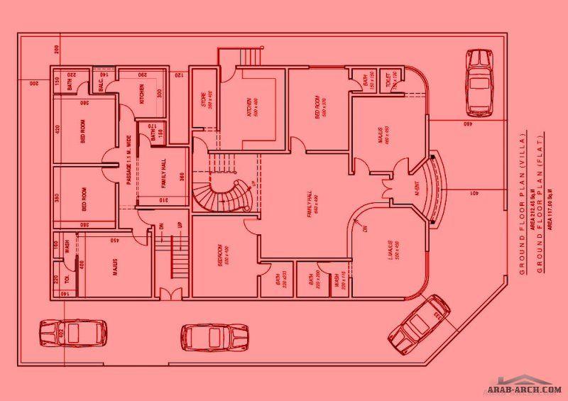 مخطط فيلا و شقق الارض كورنر بمساحة 600 متر خريطة معدله House Plans Floor Plans Design