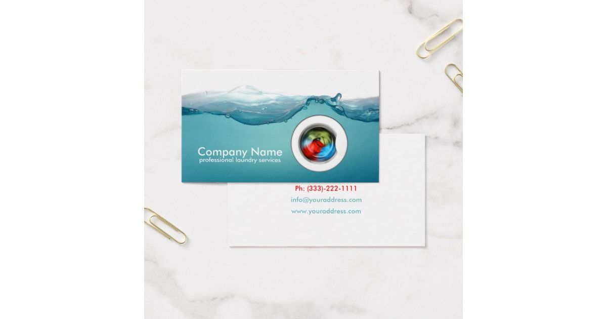 Laundry Service - Blue Water Business Card | Laundry service ...