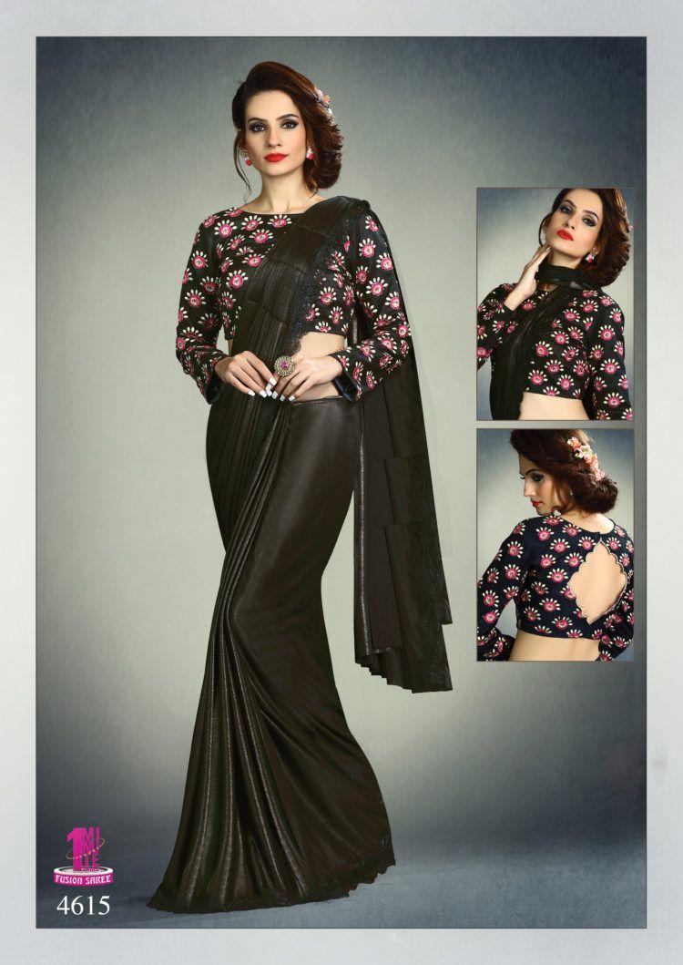 6f82d7f7d9 Black Color Fancy Knit Designer One Minute Saree - ClickOnBazar ...