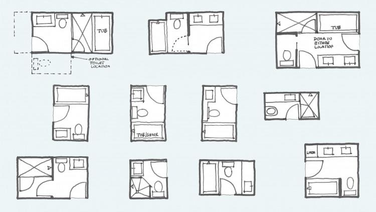 Common Bathroom Floor Plans: Rules Of Thumb For Layout – Board & Vellum | Small Bathroom Floor Plans, Small Bathroom Plans, Small Bathroom Layout