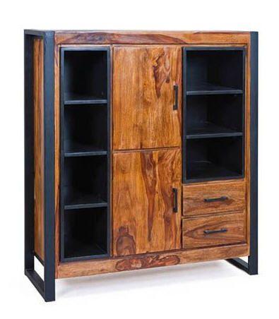 Buffet métal et bois de sheesham CARVED prix promo Miliboo 1 09900