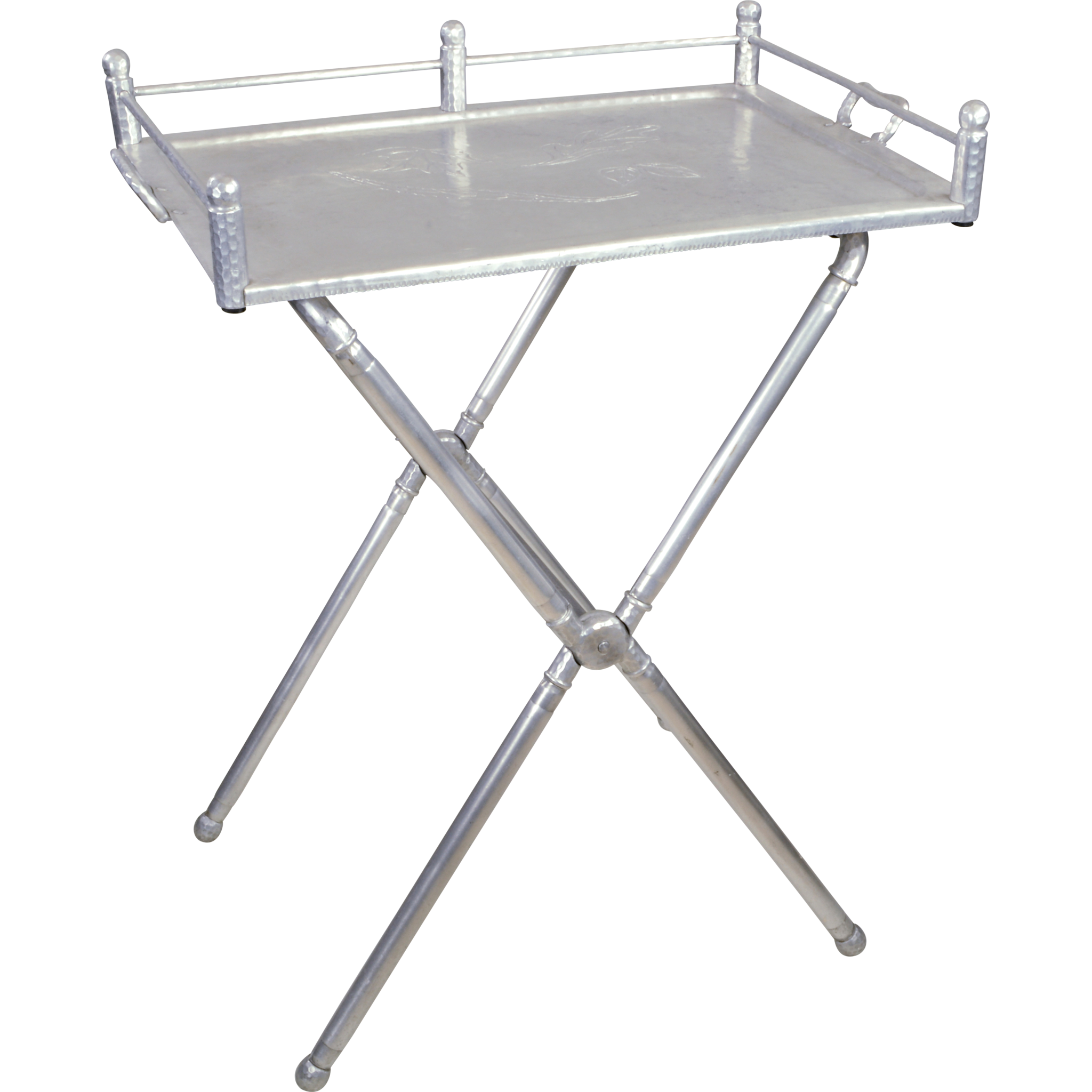 Marvelous Vintage Everlast Wrought Aluminum Tray Table Stand   Bar Or Serving