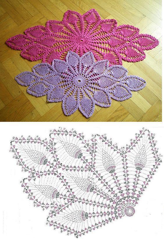 Diamond Oval Pineapple Doily Free Pattern Diagram Diy Haken