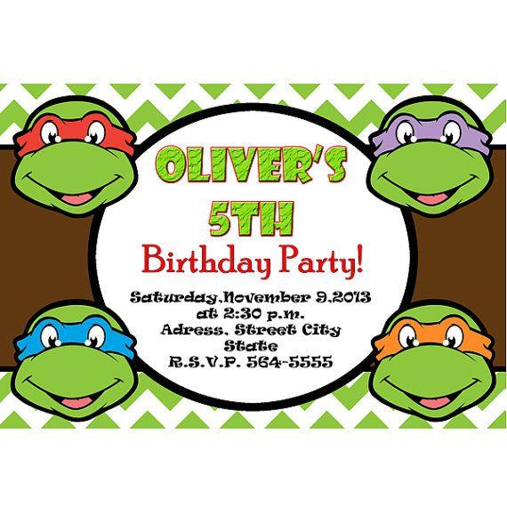 Teenage Mutant Ninja Turtles Invitation Tmnt Invite Turtles