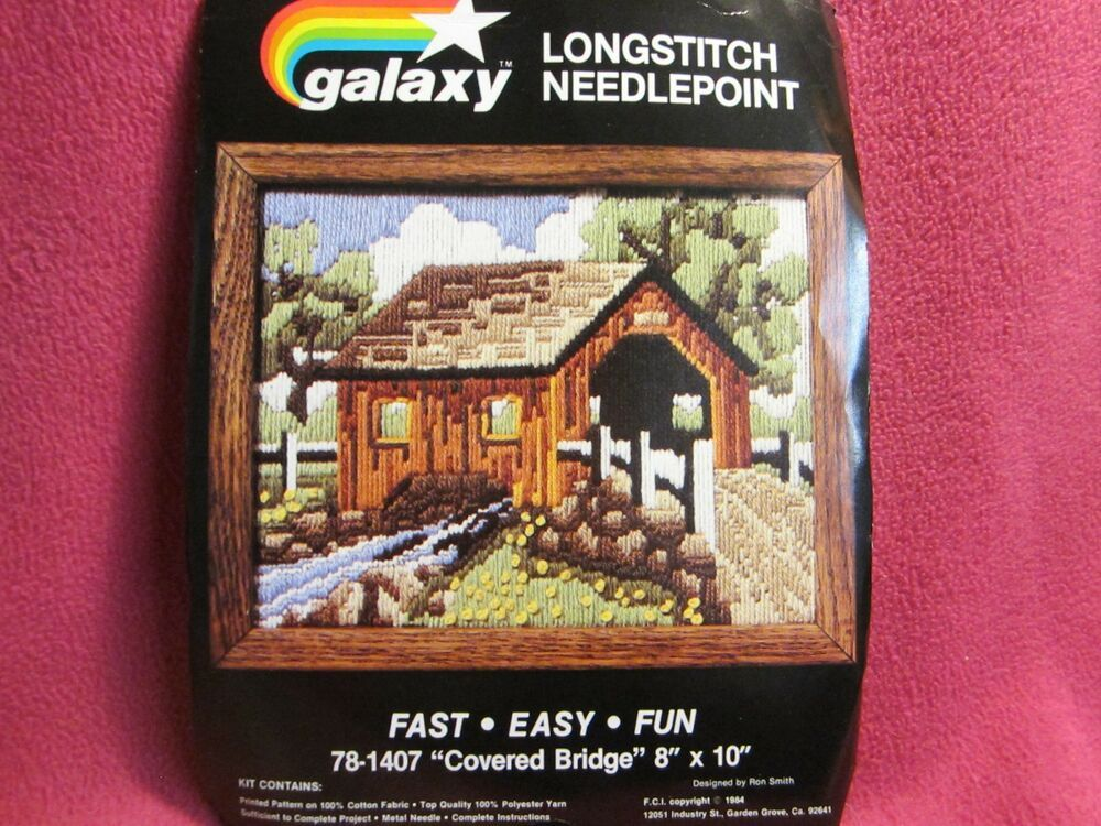 Galaxy Longstitch Needlepoint Covered Bridge by Ron Smith 8x10 Opened Unused
