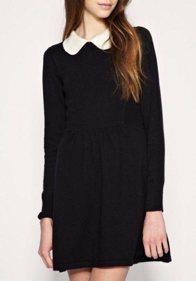 Черное платье с белым воротником купить   чёрные одежды   Vestido ... 40c3adc3ac4