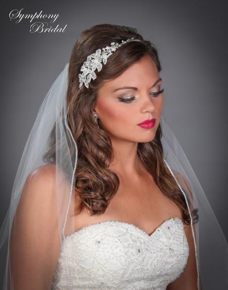 Floral Side Accent Wedding Headband Symphony Bridal 7637CR  - Affordable Elegance Bridal -