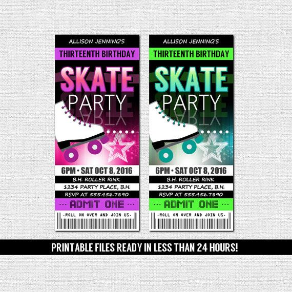 SKATE TICKET INVITATIONS Roller Skating Birthday Party (printable Files) By  Nowanorris On Etsy  Party Ticket Invitations