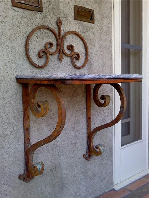 heavy-duty-wrought-iron-bracket- Thick Large | Metal door ...