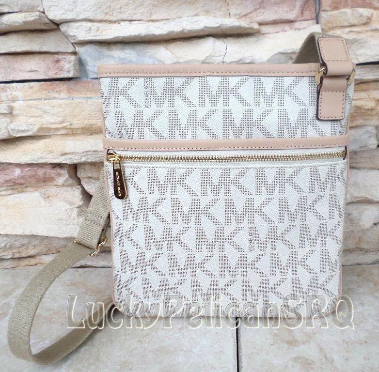 MICHAEL KORS Jet Set Large Vanilla MK Signature Crossbody Messenger Handbag NWT #MichaelKors #MessengerCrossBody