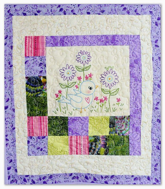 Blue Bird Of Happiness Embroidery Pattern Pdf Quilt Stitchery Hand