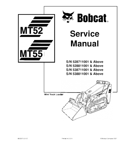 BOBCAT MT52, MT55 MINI TRACK LOADER SERVICE REPAIR MANUAL