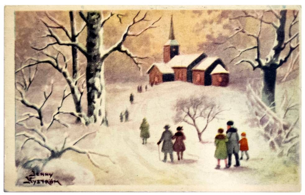 Nyströmin rauhaisa joulukortti sota-ajalta 1915.