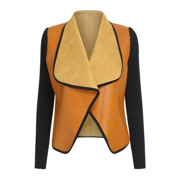 SheIn(sheinside) Yellow Black Contrast Trims Crop Coat (€20) ❤ liked on Polyvore featuring outerwear, coats, jackets, coats & jackets, yellow, vintage coat, cropped coat, color block coat, beige coat and yellow coat
